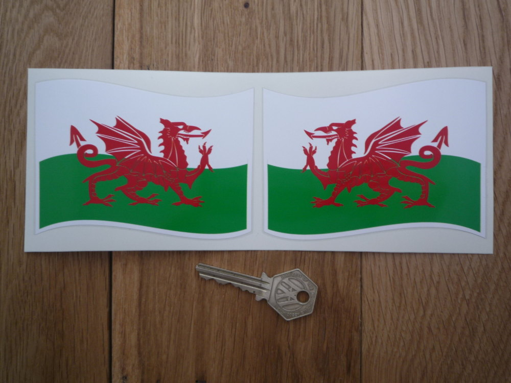 """Welsh Dragon Flat Wavy Style Flags Stickers. 2"""" or 4"""" Pair."""