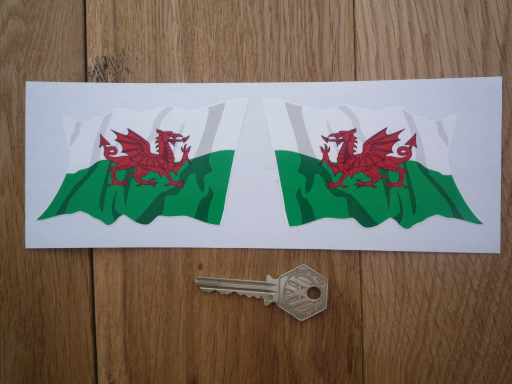 """Welsh Dragon Shaded Wavy Style Flags Stickers. 2"""" or 4"""" Pair."""