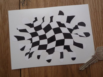 "Chequered Splat Shaped Sticker. 6""."