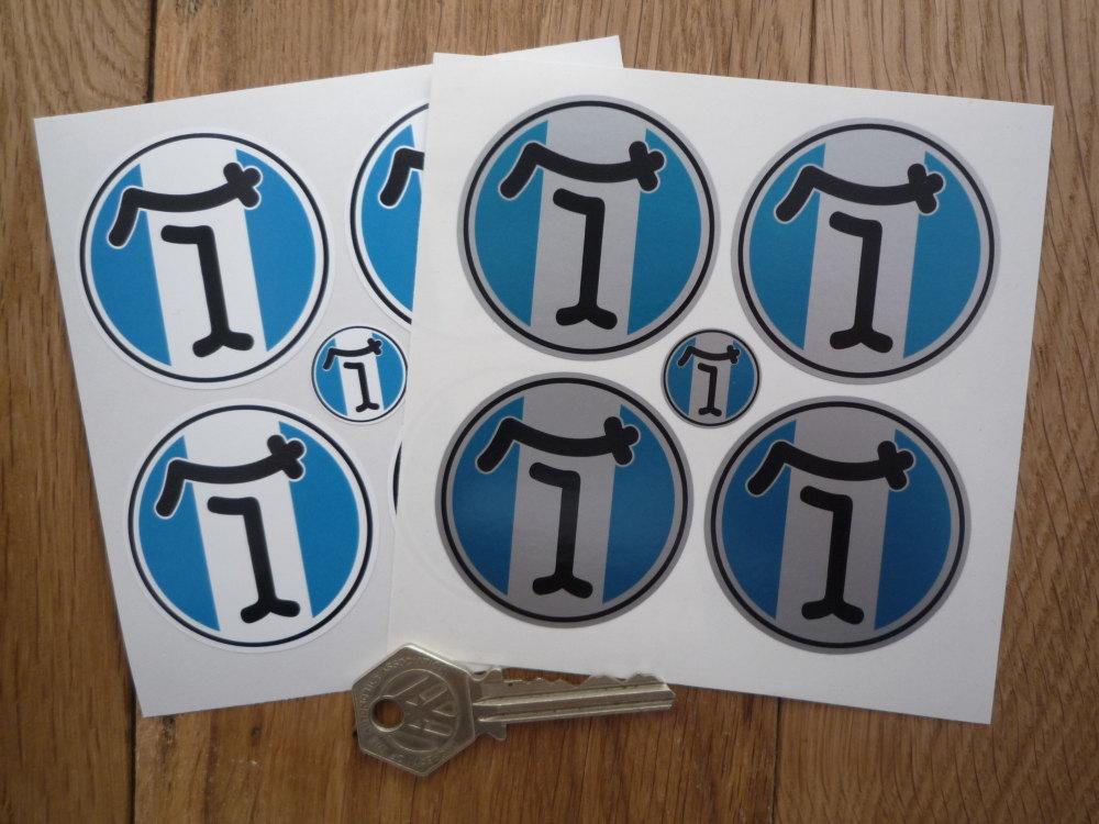 De Tomaso Circular Wheel Centre Style Stickers. Set of 4. Various Sizes.