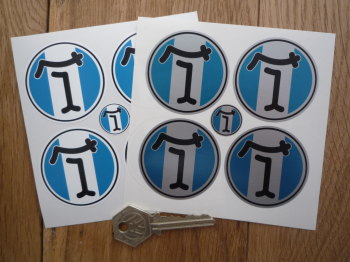 De Tomaso Circular Wheel Centre Style Stickers. Set of 4. Various Sizes.