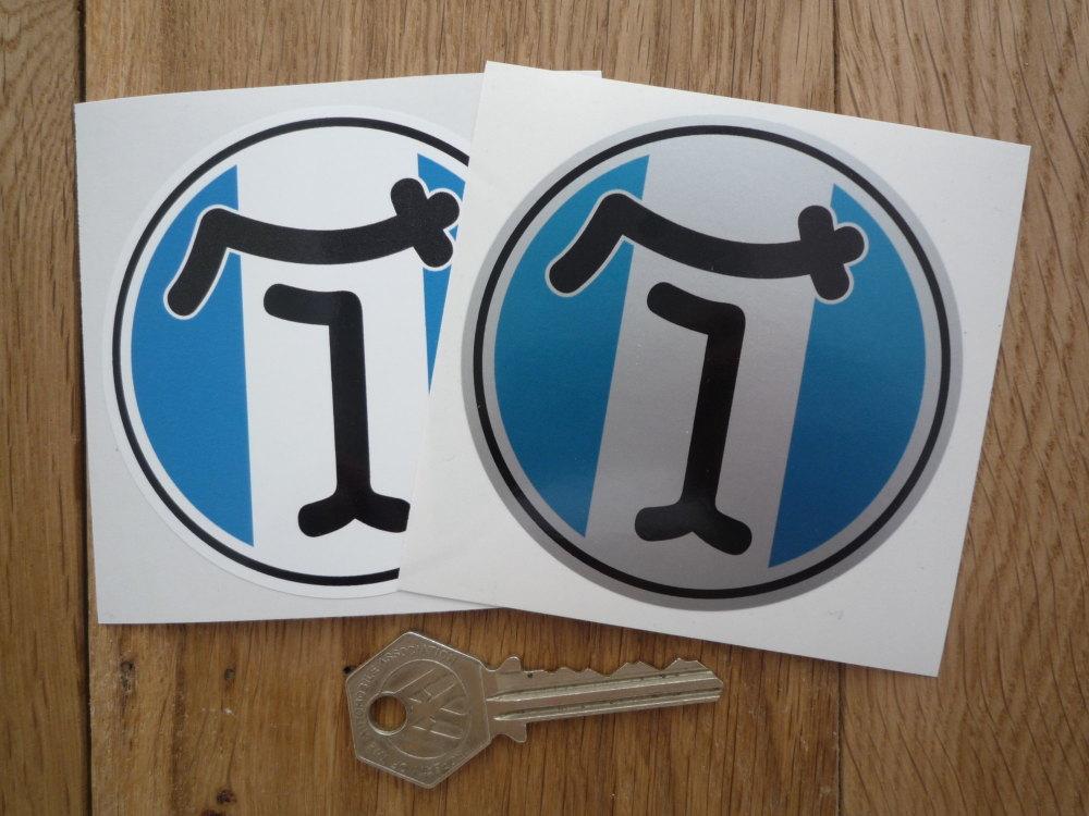 """De Tomaso Circular Stickers. 3.25"""" Pair."""