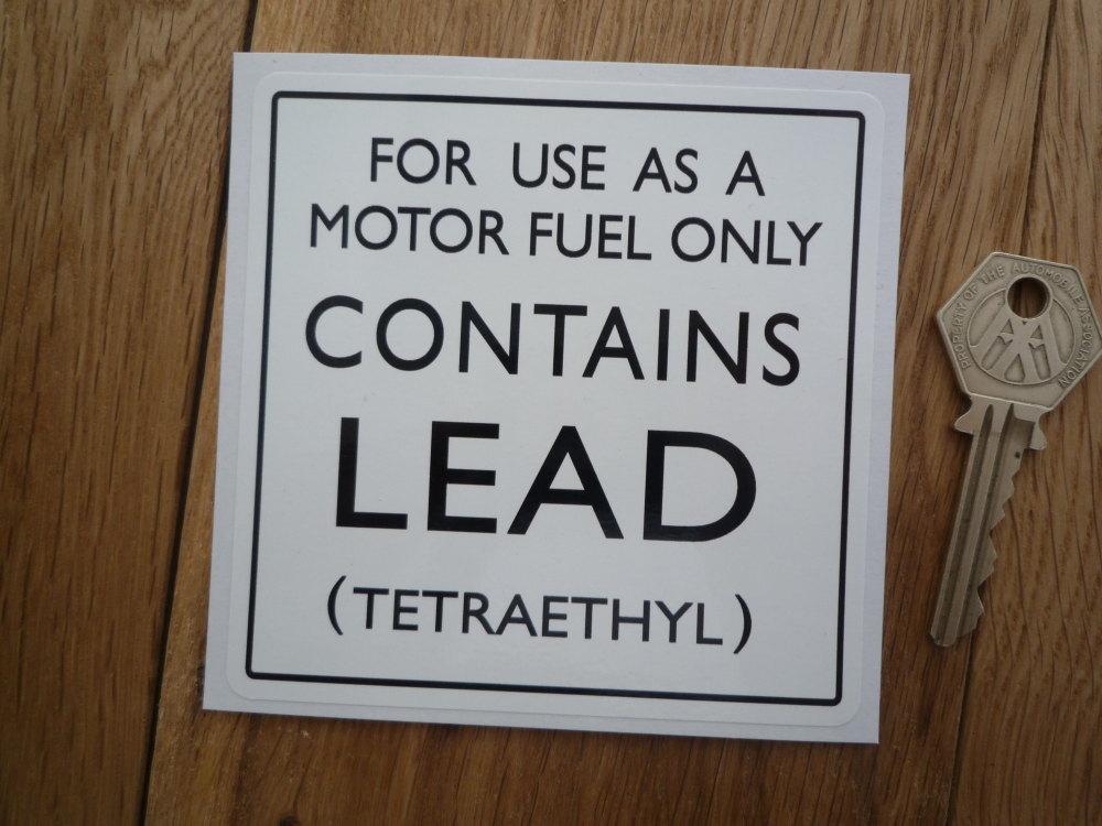 Contains Lead Tetraethyl Small Petrol Pump Sticker. 4