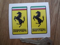 "Ferrari Oblong Badge Style Stickers. 2.25"" Pair."