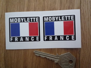 "Mobylette France Tricolore Style Stickers. 2"" Pair."