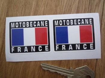 "Motobecane France Tricolore Style Stickers. 2"" Pair."