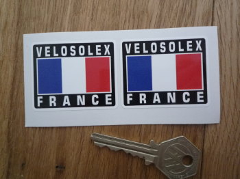 """VeloSolex France Tricolore Style Stickers. 2"""" Pair."""