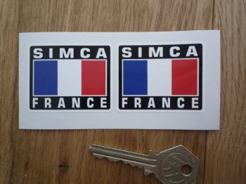 "Simca France Tricolore Style Stickers. 2"" Pair."
