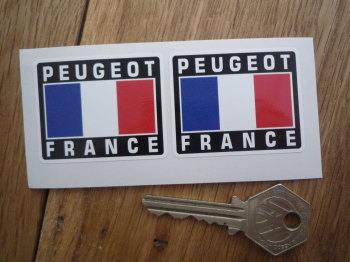 "Peugeot France Tricolore Style Stickers. 2"" Pair."
