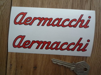 "Aermacchi Cut Text with Black Outline Stickers. 4.75"" Pair."