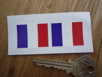 French Flag Oblong France Stickers. 33mm Pair.