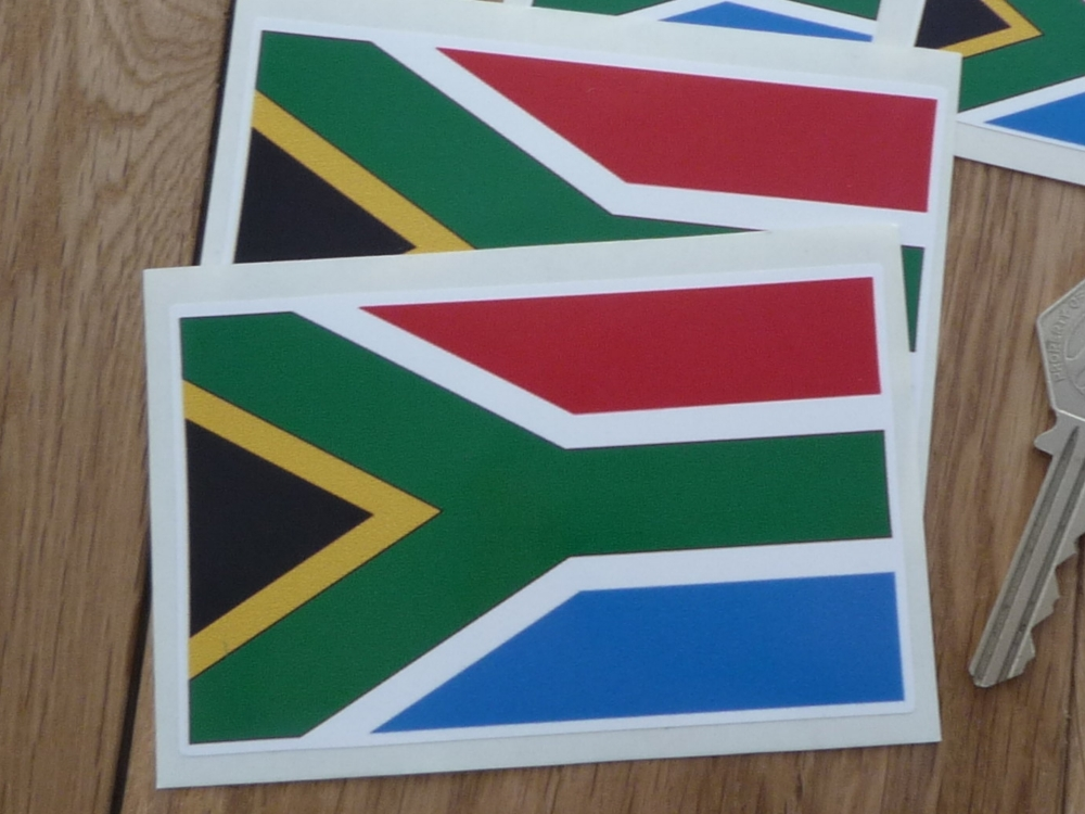 "South African Flag Stickers. 4"" Pair."