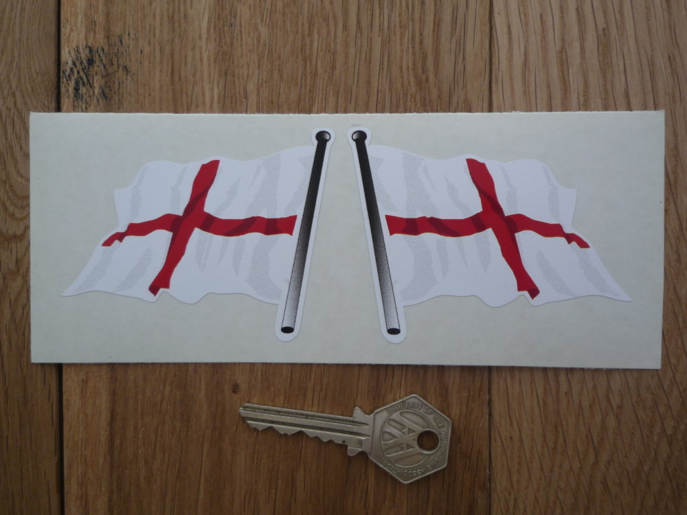 "St Georges England Wavy Flags on Poles Stickers. 3"" Pair."
