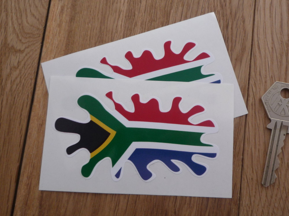 "South African Flag Splat Style Stickers. 4"" Pair."