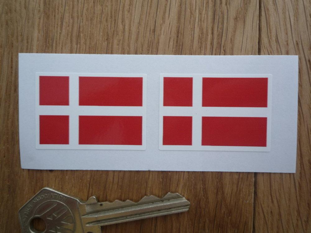 Denmark Flag Oblong Danish Stickers. 40mm Pair.