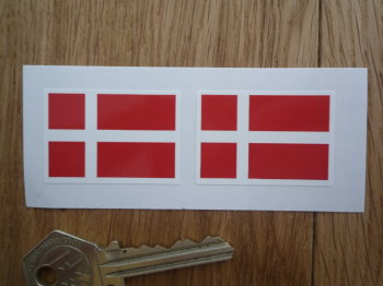 Denmark Flag Oblong Danish Stickers. 40mm Pair.