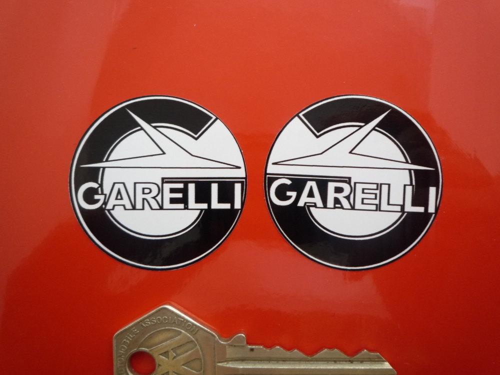"Garelli Round Handed Black & White Stickers. 1.5"" Pair."