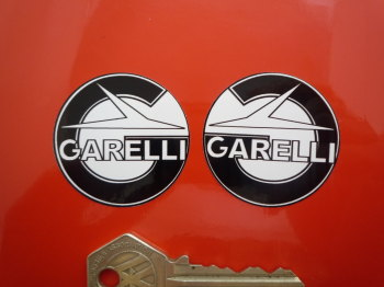 "Garelli Round Handed Black & White Stickers. 1.5"" Pair."