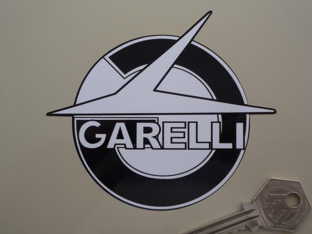 "Garelli Shaped Black & White Stickers. 4"" Pair."