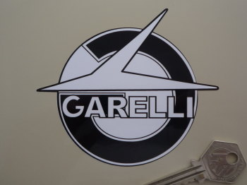 "Garelli Shaped Black & White Stickers. 4"" Pair."