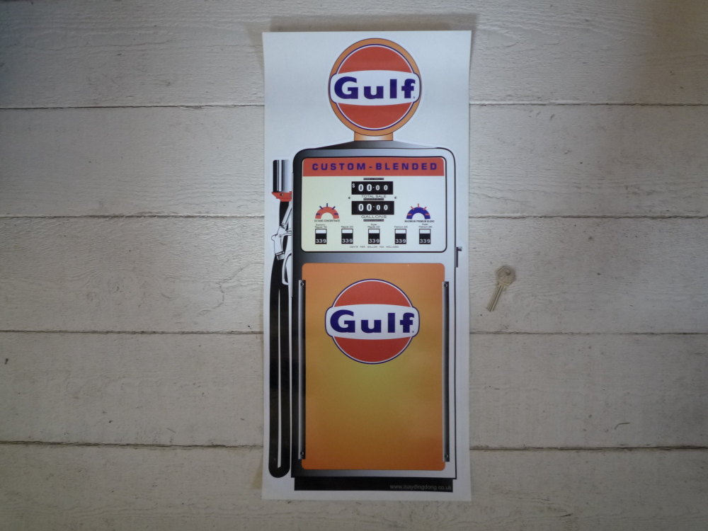 """Gulf Petrol Pump Style Large Sticker. 24""""."""
