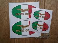 """Moto Guzzi Eagle Tricolore Oval Stickers. 3"""", 4"""", 4.5"""", 5"""", 6"""" or 8"""" Pair."""