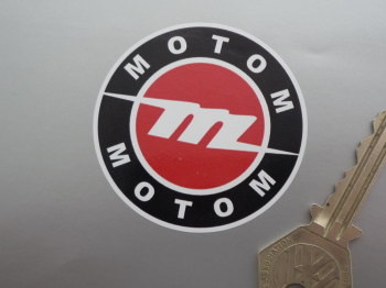 "Motom Black, Red & White Circular Stickers. 2.25"" Pair."