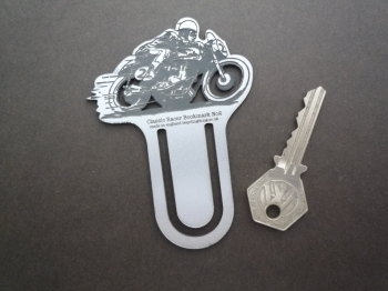 Classic Race Bike Silver Laser Cut & Etched Bookmark. No.2.