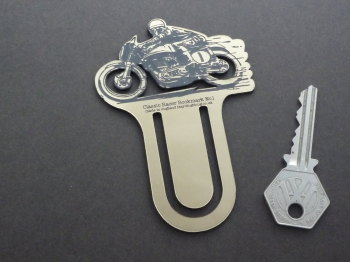 Classic Race Bike Gold Acrylic Laser Cut & Etched Bookmark. No.1.