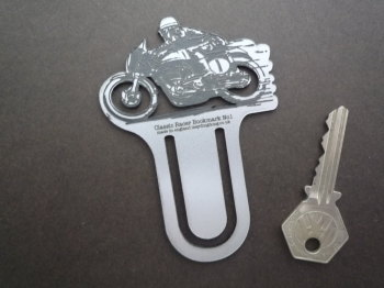 Classic Race Bike Silver Laser Cut & Etched Bookmark. No.1.