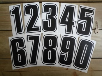 Racing Numbers Stickers. Outline Style. Various Sizes.