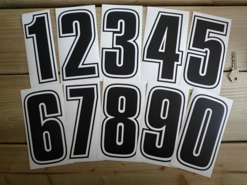Racing Numbers Stickers. Outline Style Font. Various Sizes.