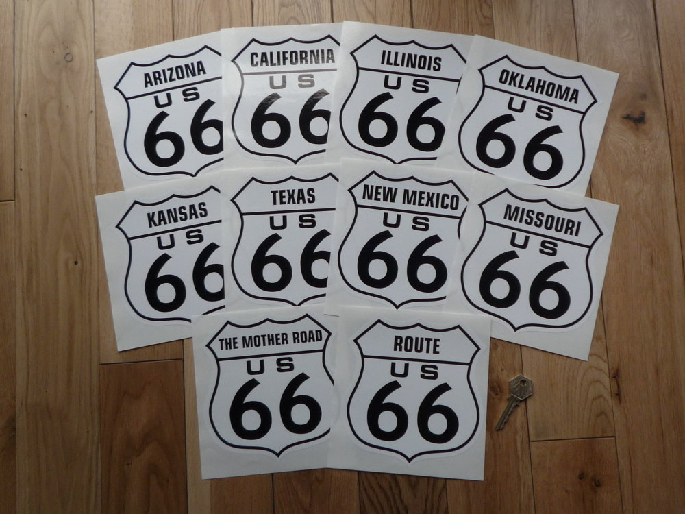 "Route 66 Full State Set of 10 Stickers. 6""."