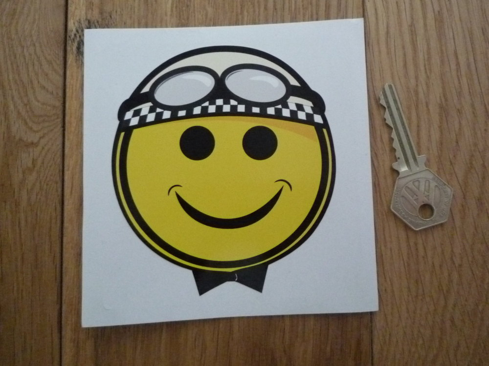 "Smiley Face Crash Helmet Cheeky Chappy Racing Driver Sticker. 4""."