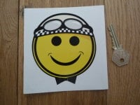 Smiley Face Crash Helmet Cheeky Chappy Racing Driver Sticker. 4