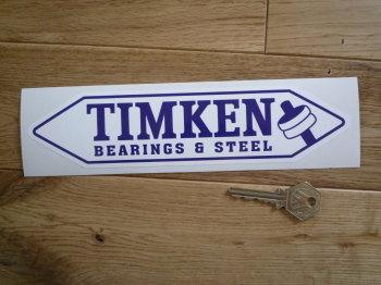 """Timken Bearings & Steel. Blue & White, Shaped Sticker. 8.75""""."""