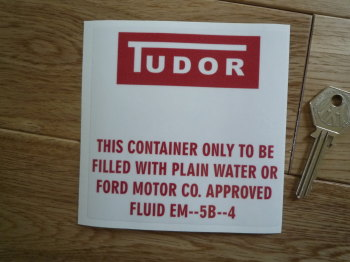 "Tudor Ford Washer Bag Red & Clear Sticker. 4""."