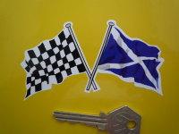 Crossed Scottish Saltire & Chequered Flag Sticker. 4