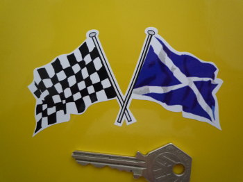 "Crossed Scottish Saltire & Chequered Flag Sticker. 4"" or 6""."
