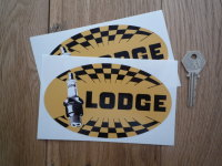Golden Lodge Spark Plugs Chequered Oval Stickers. 5.5