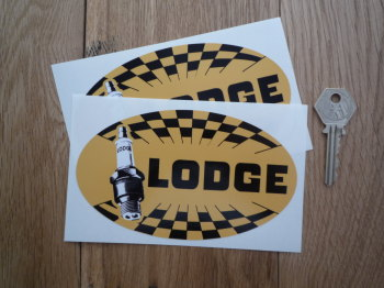 "Golden Lodge Spark Plugs Chequered Oval Stickers. 5.5"" Pair."
