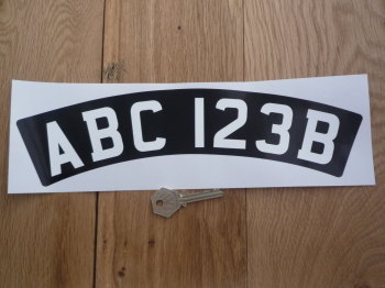 Printed Curved Front Scooter or Motorcycle Number Plate Sticker. 300mm.