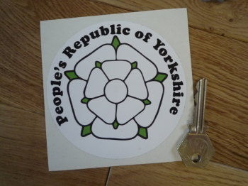 "People's Republic of Yorkshire White Rose Circular Sticker. 4""."