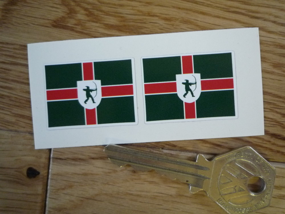 Nottinghamshire Flag Oblong Stickers. 33mm Pair.