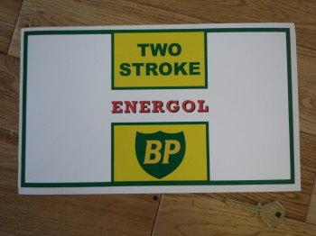 """BP Energol Two Stroke Oblong Can Label Sticker. 11""""."""