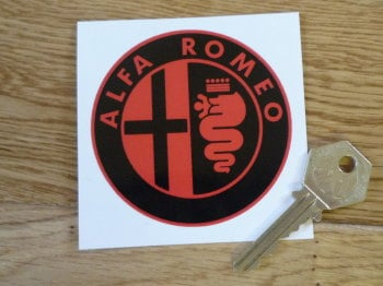 "Alfa Romeo Logo Sticker. Black & Red. 3""."