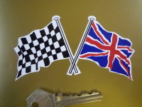 "Crossed Chequered & Union Jack Flag Sticker. 3"", 4"", 6"", 7"" or 12""."