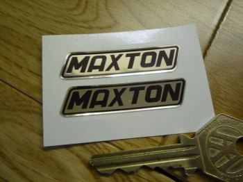 "Maxton Black & Foil Stickers. 2"" Pair."