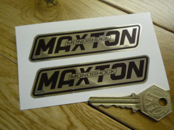 "Maxton Monoshock Black & Foil Stickers. 4"" Pair."