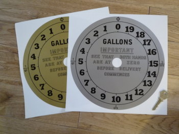 "Petrol Pump Face Round Style 9 Clock Face Sticker. 10""."